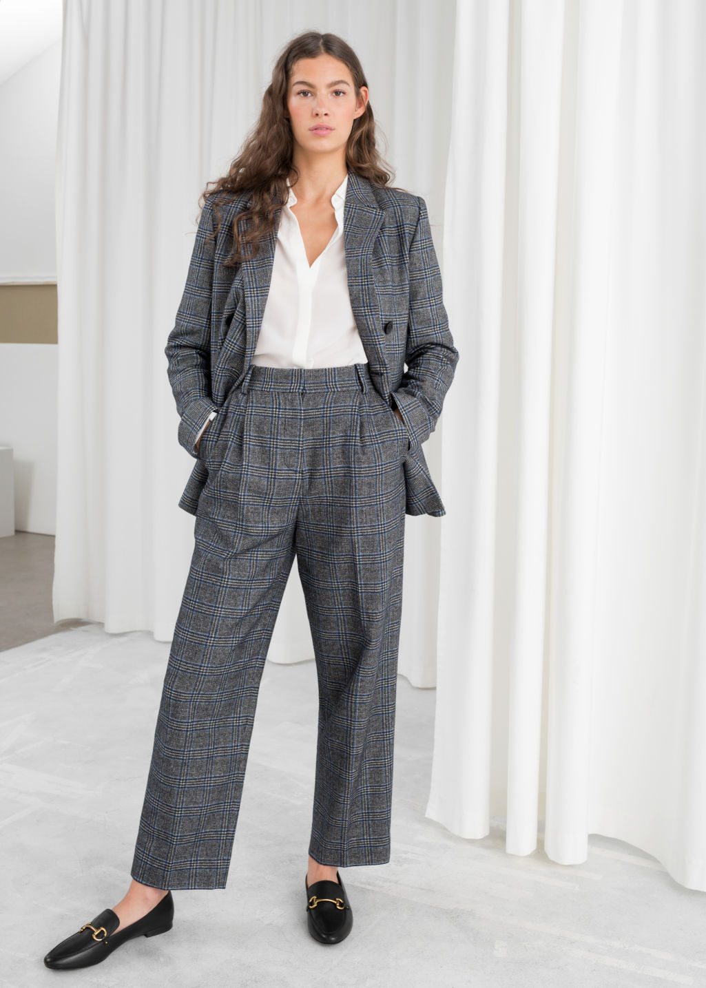 Model front image of Stories creased trousers in grey