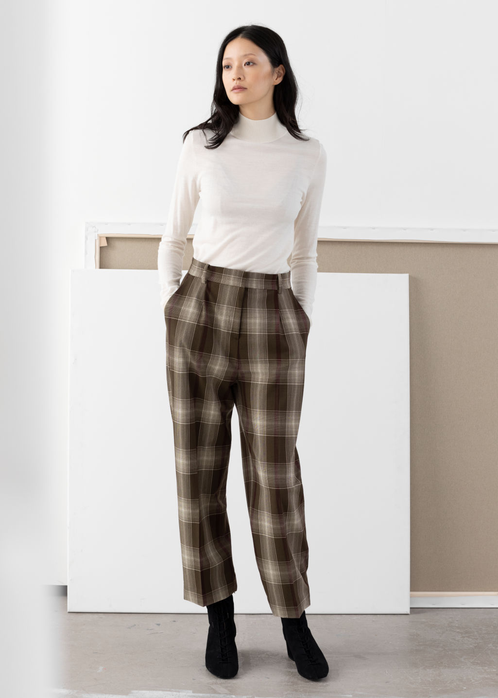 Model front image of Stories tailored straight trousers in brown