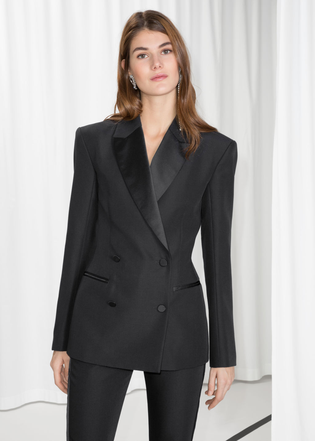 Model front image of Stories wool blend blazer in black