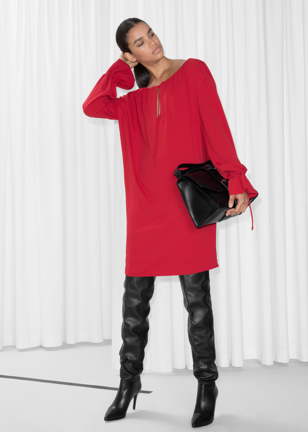 Model front image of Stories tunic mini dress in red
