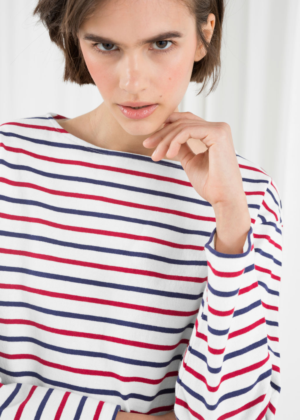 Model back image of Stories stripe top in white