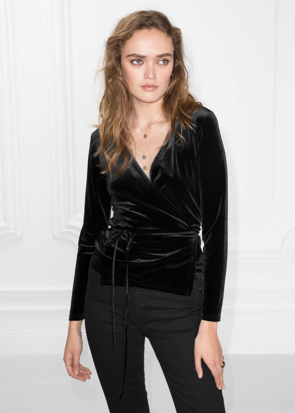 Model front image of Stories velvet blouse in black