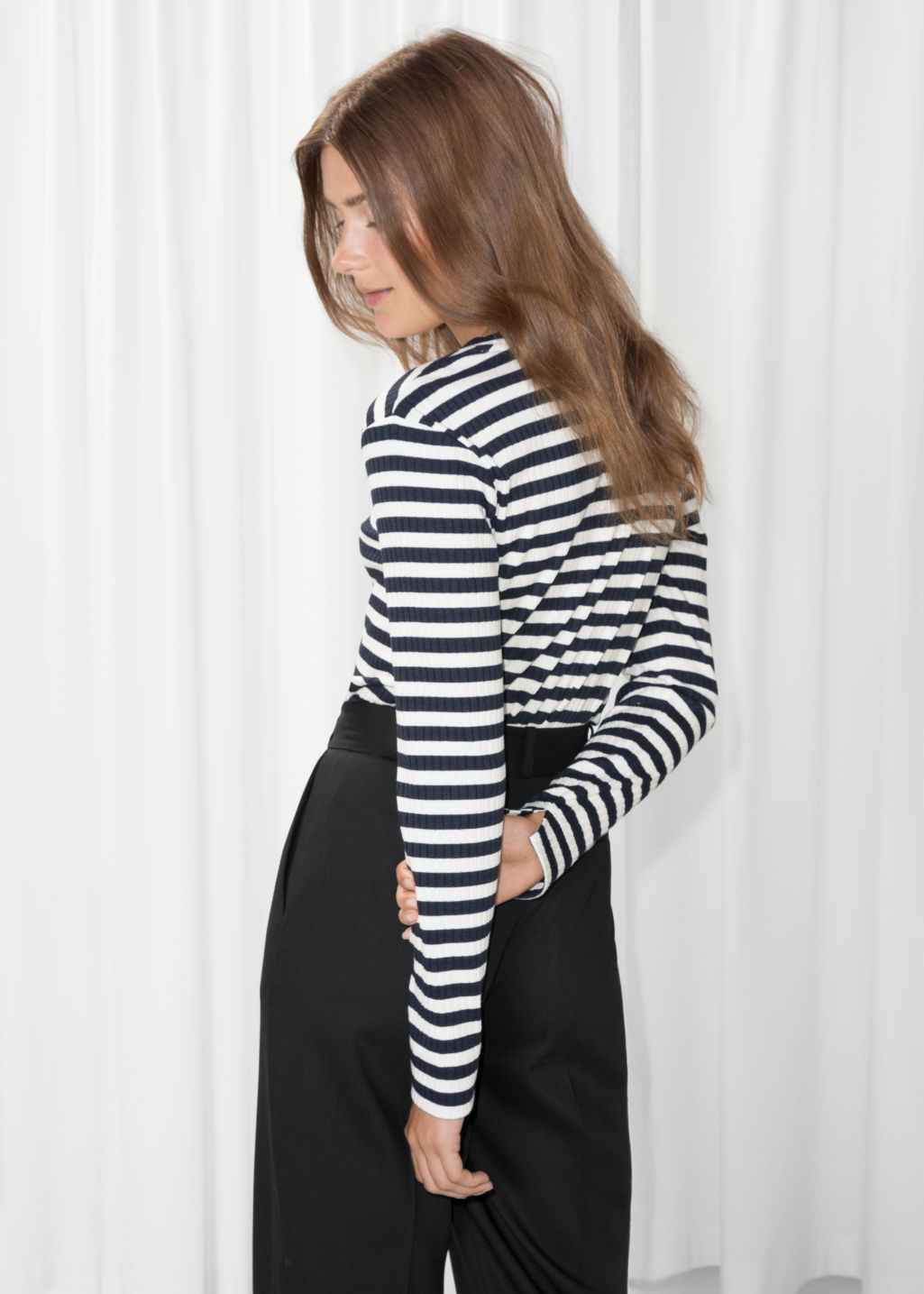 Model back image of Stories ribbed stripe top in blue