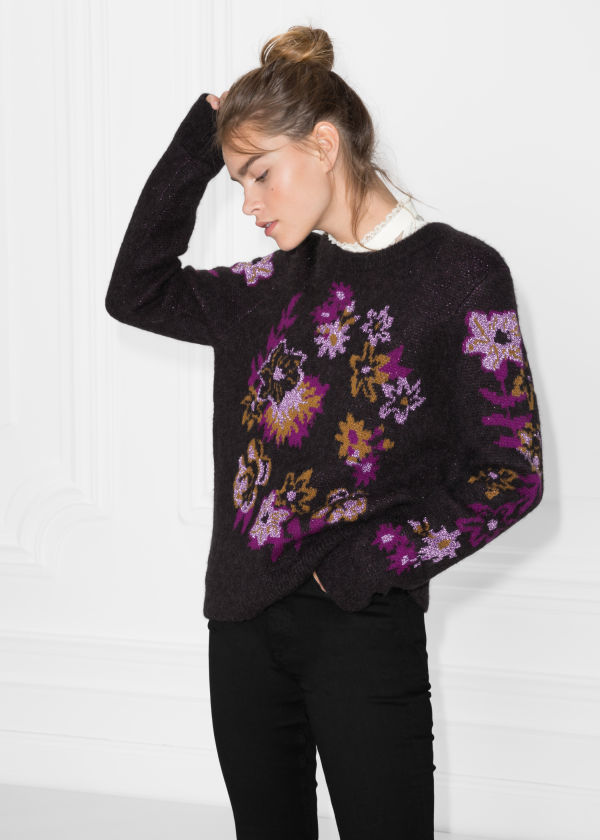 Flower Knit Jacquard Sweater