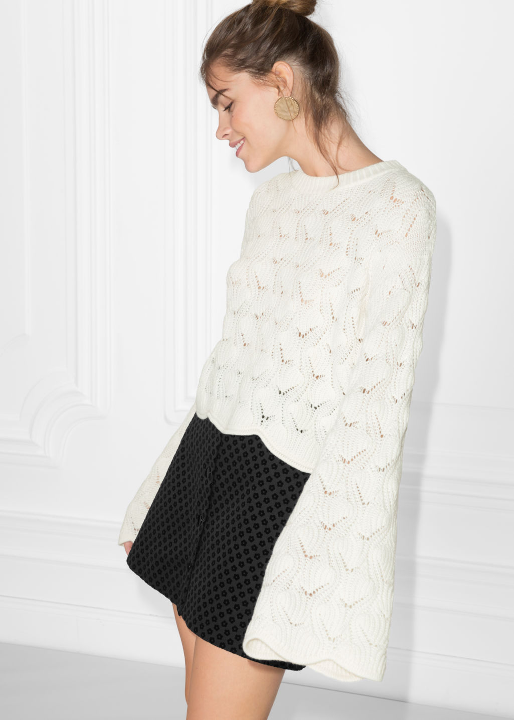 Model front image of Stories a-line sleeve sweater in white