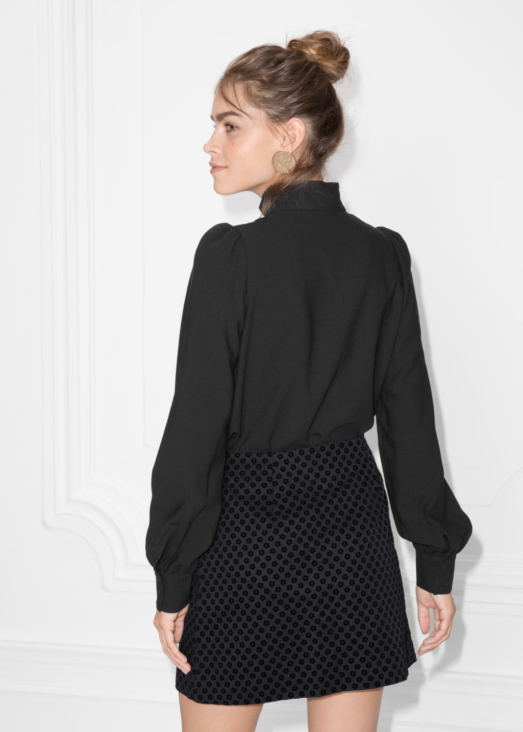Model back image of Stories floral embroidered blouse in black
