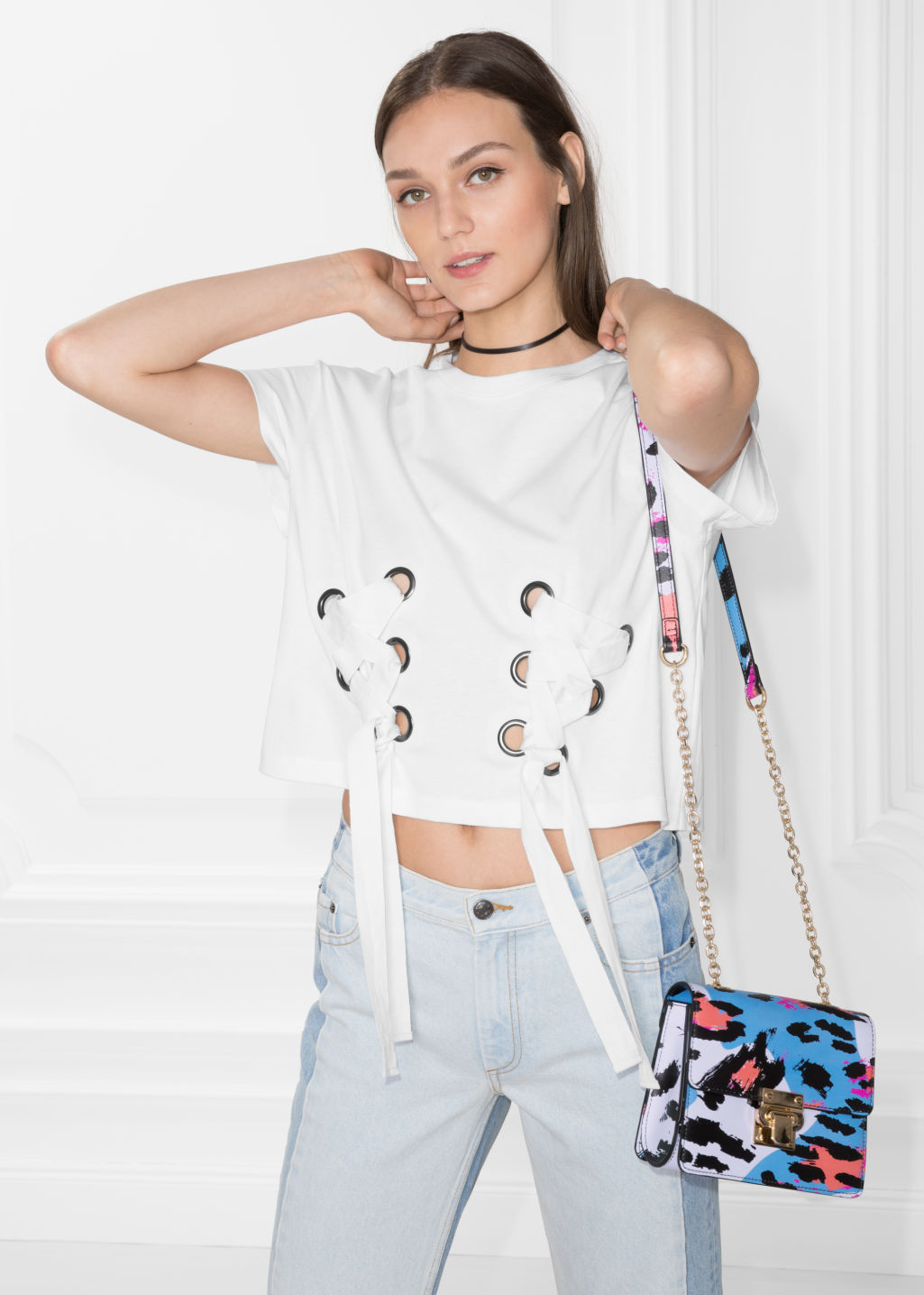 Model front image of Stories lace-up detail top in white