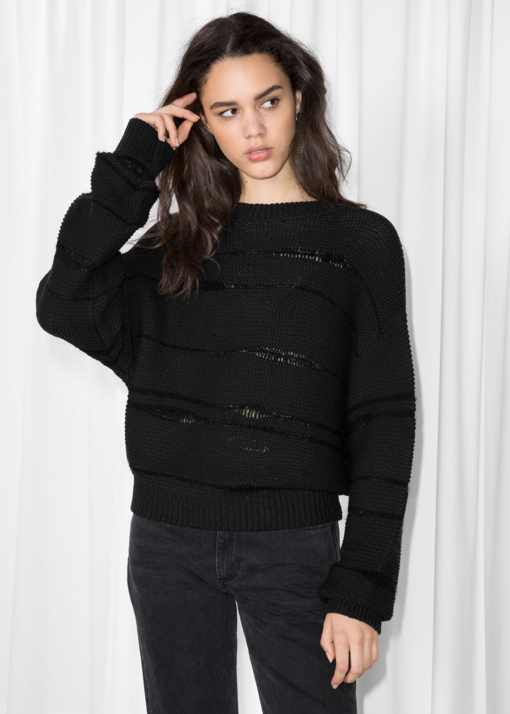 Model front image of Stories mohair mix jumper in black