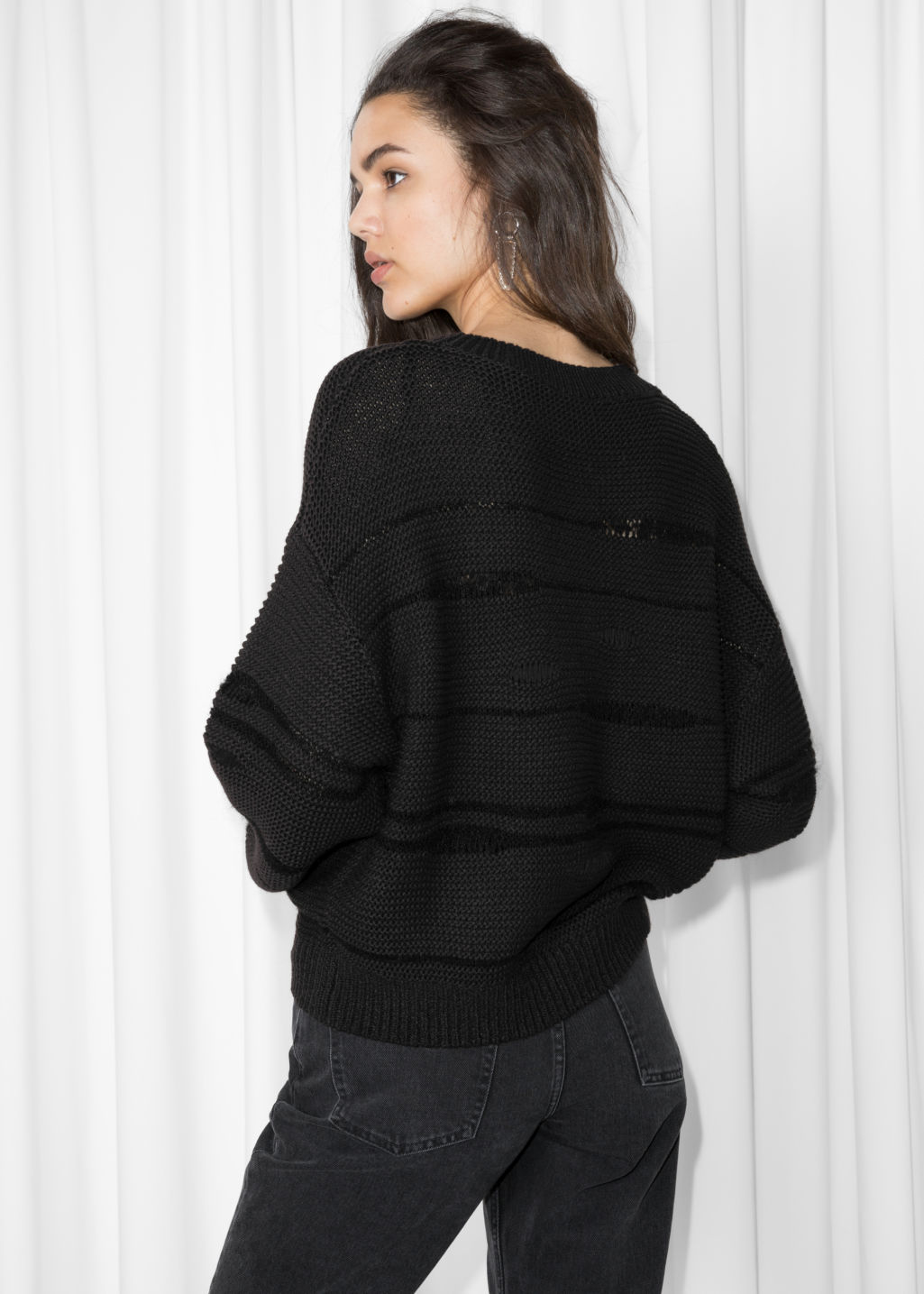 Model back image of Stories mohair mix jumper in black