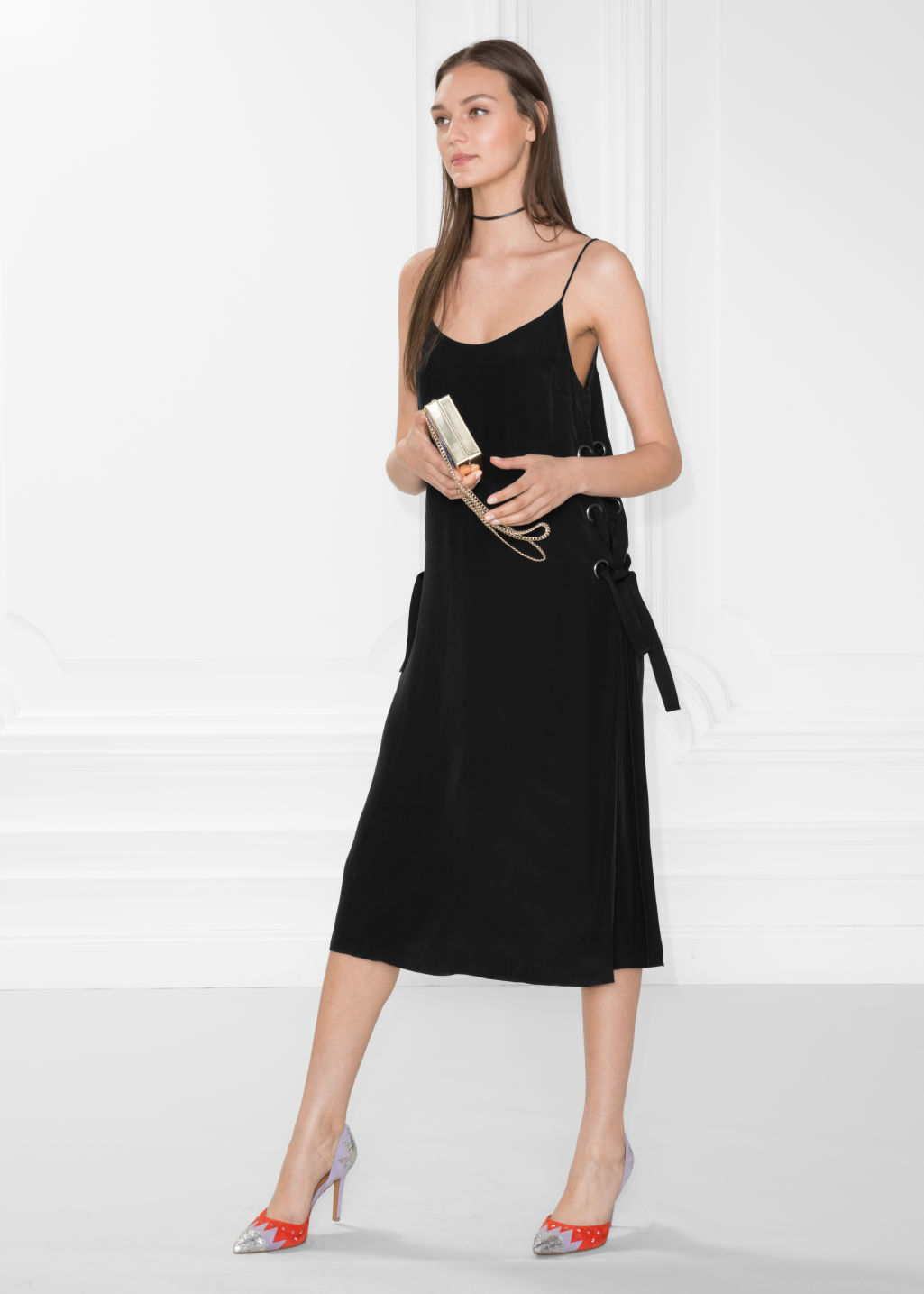 Model front image of Stories eyelet lace-up dress in black