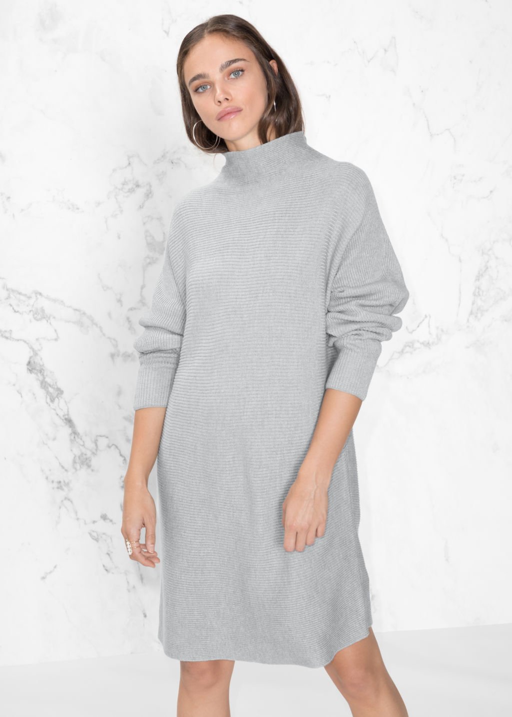 Model front image of Stories raised neck sweater dress in grey