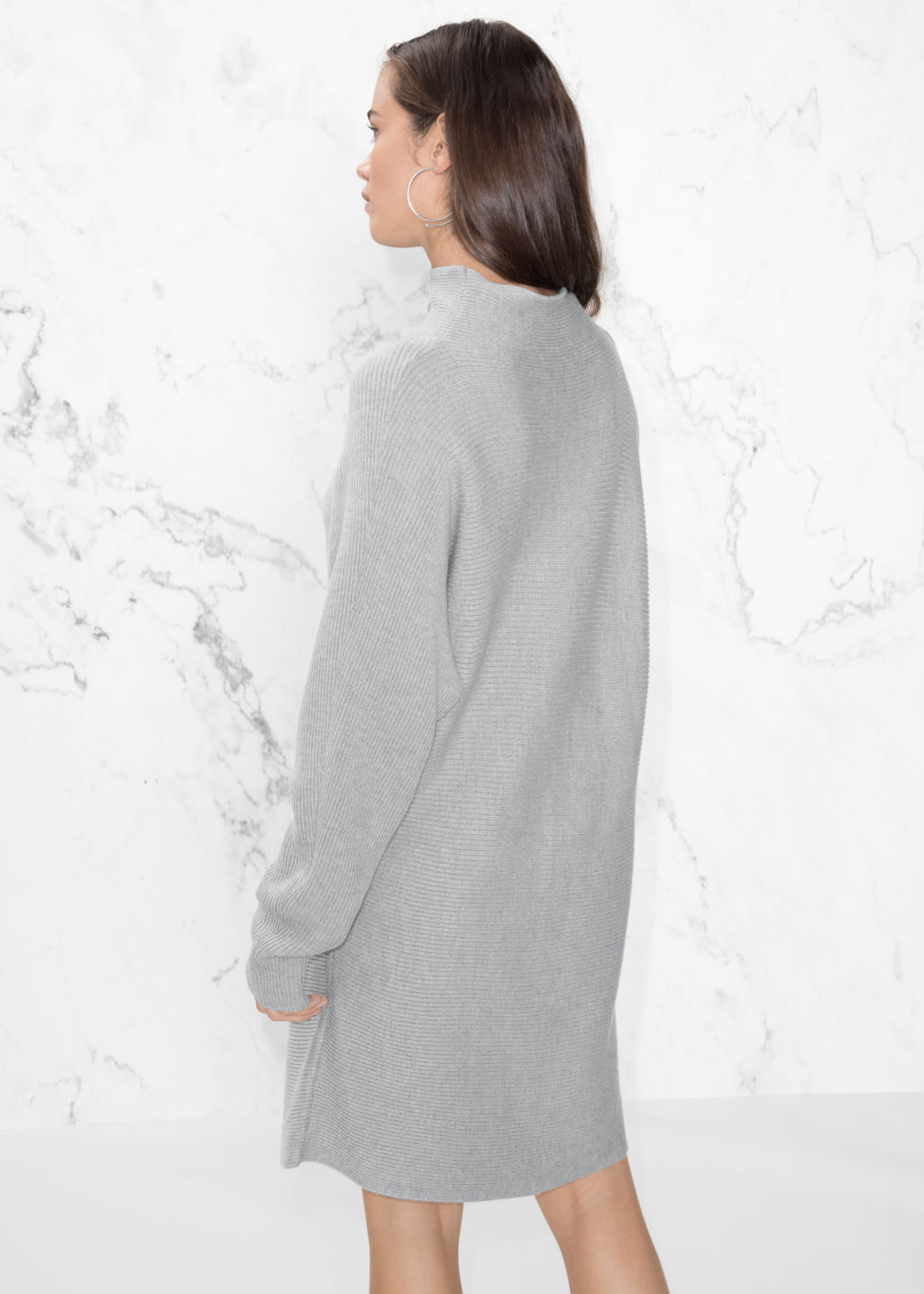 Model back image of Stories raised neck sweater dress in grey