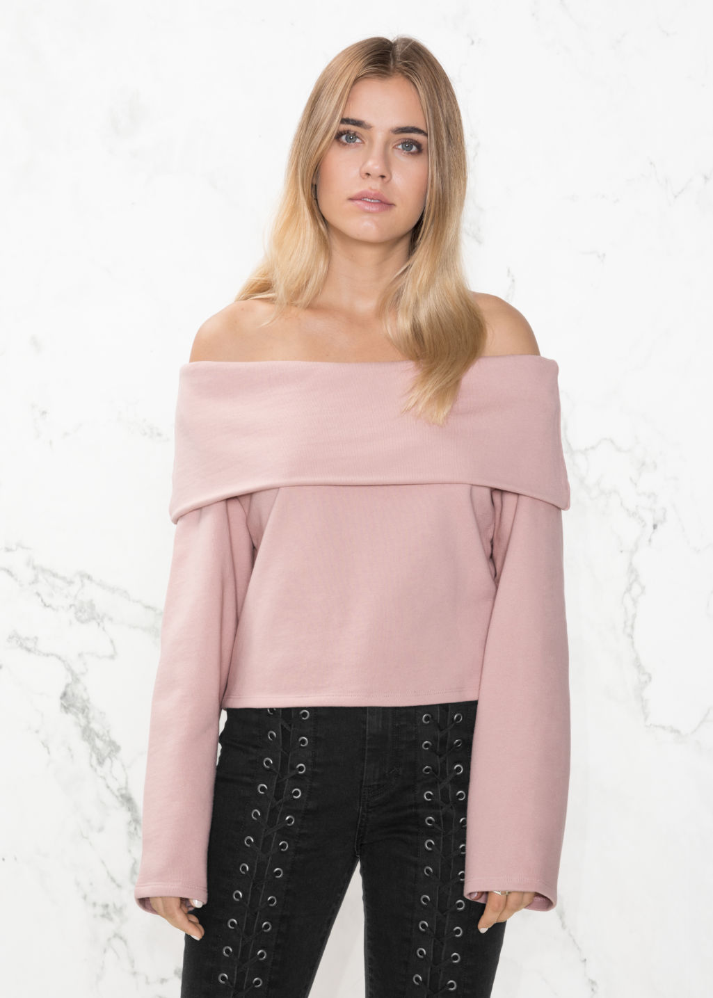Model front image of Stories off-the-shouldertop in pink