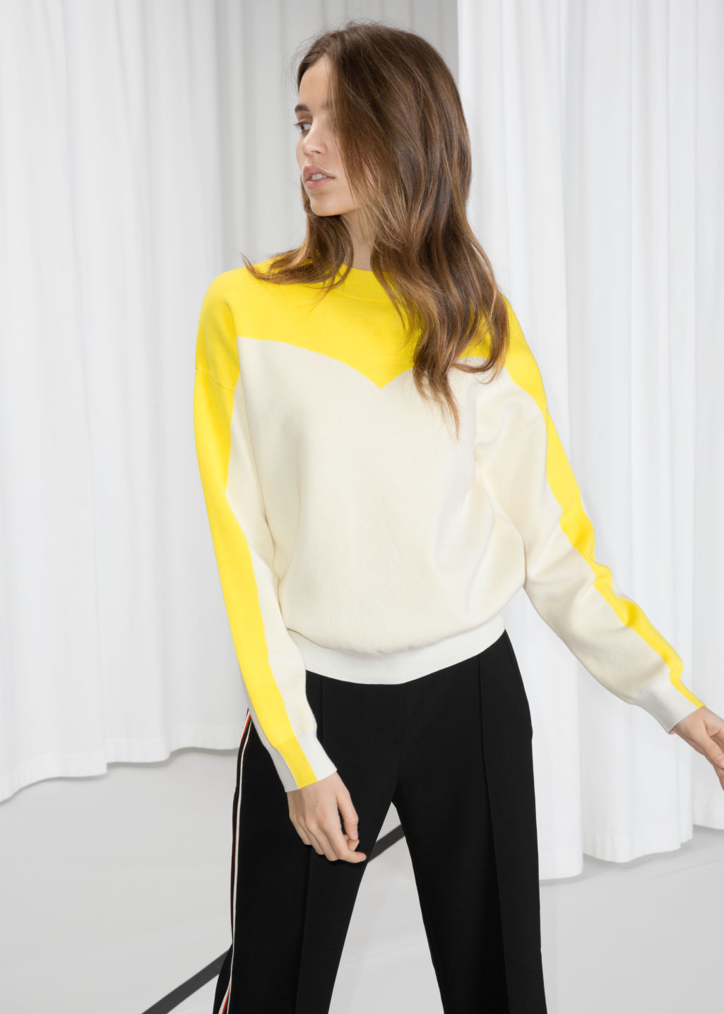 Model front image of Stories colour blocking cotton sweater in white