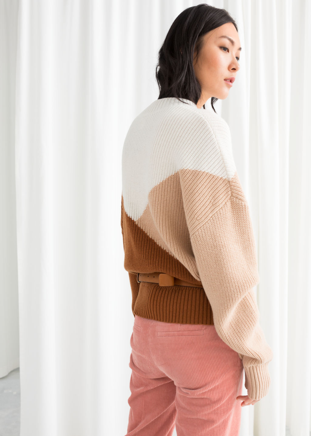 Model back image of Stories colour block sweater in beige