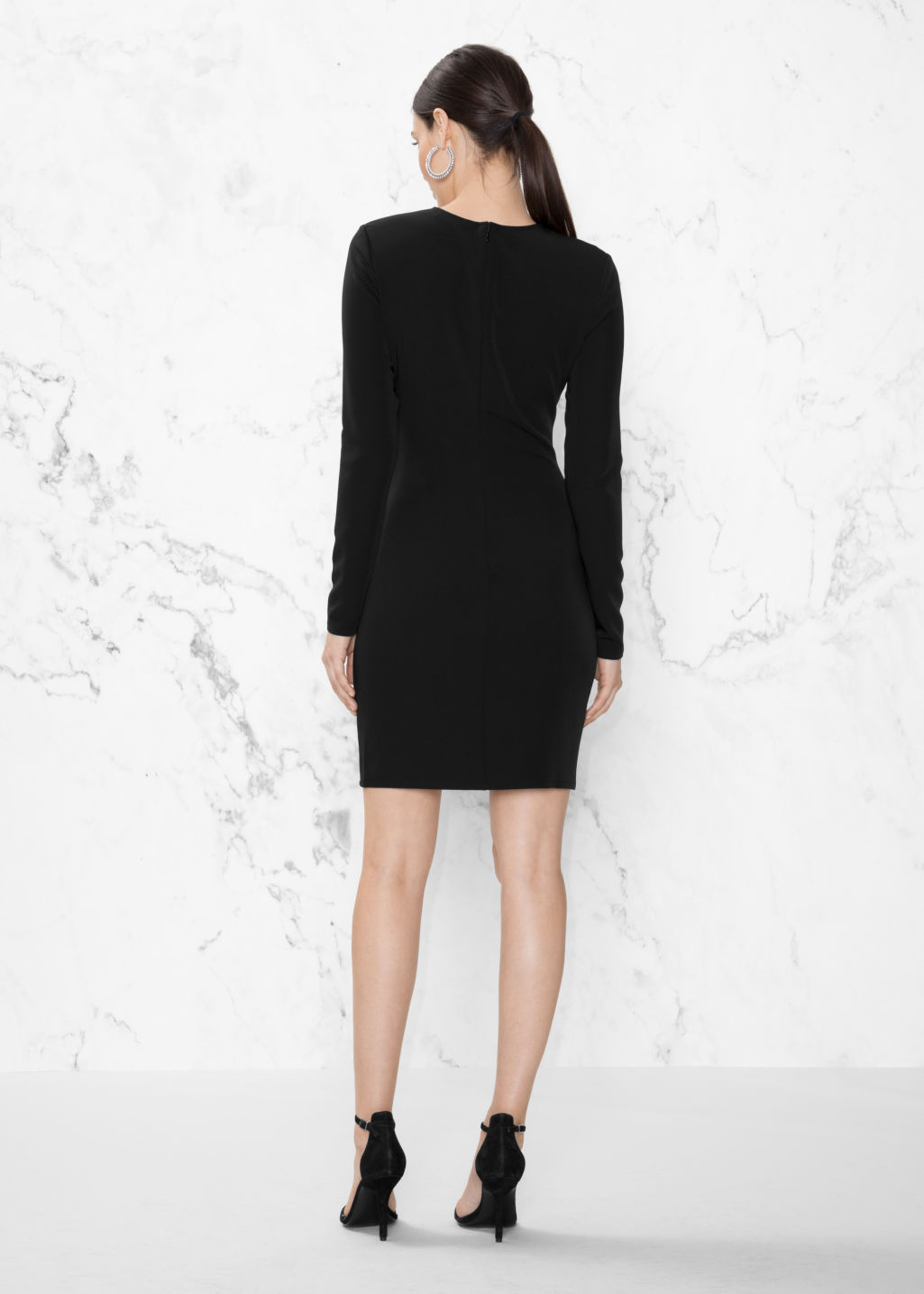 Model back image of Stories drape longsleeve dress   in black