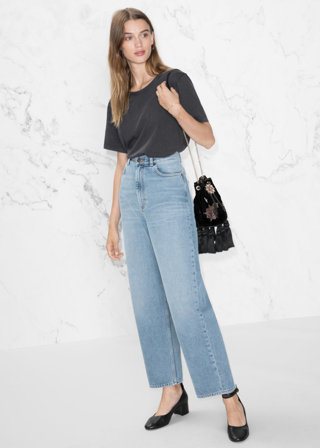 Model front image of Stories wide leg denim jeans in blue