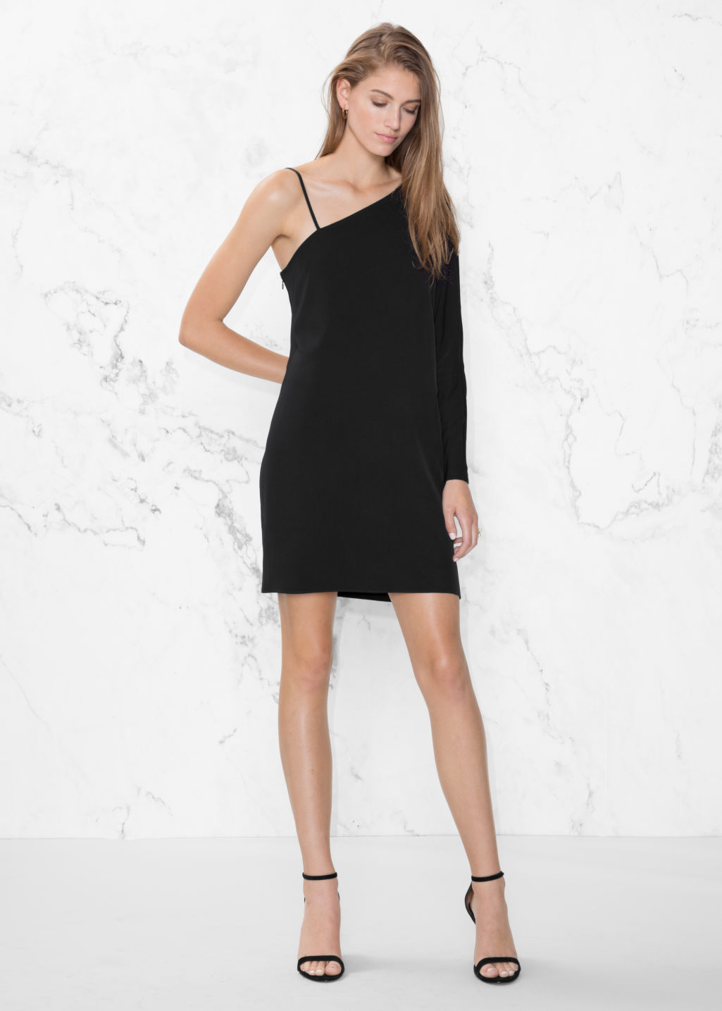 Model front image of Stories one sleeve dress in black