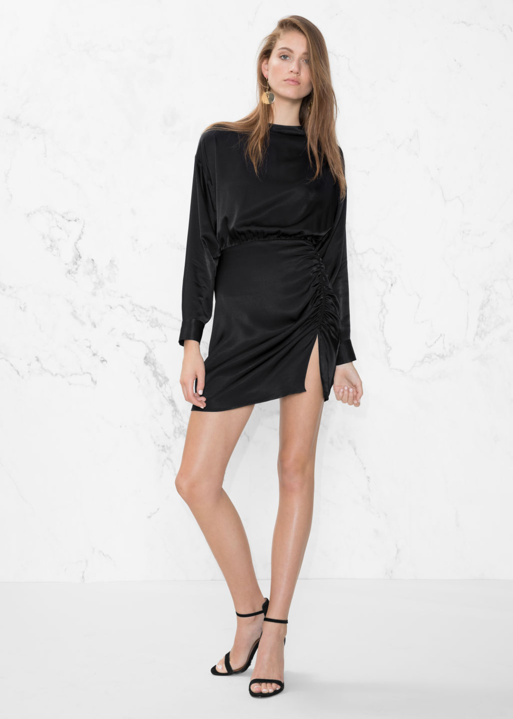 Model front image of Stories gathered mini dress in black