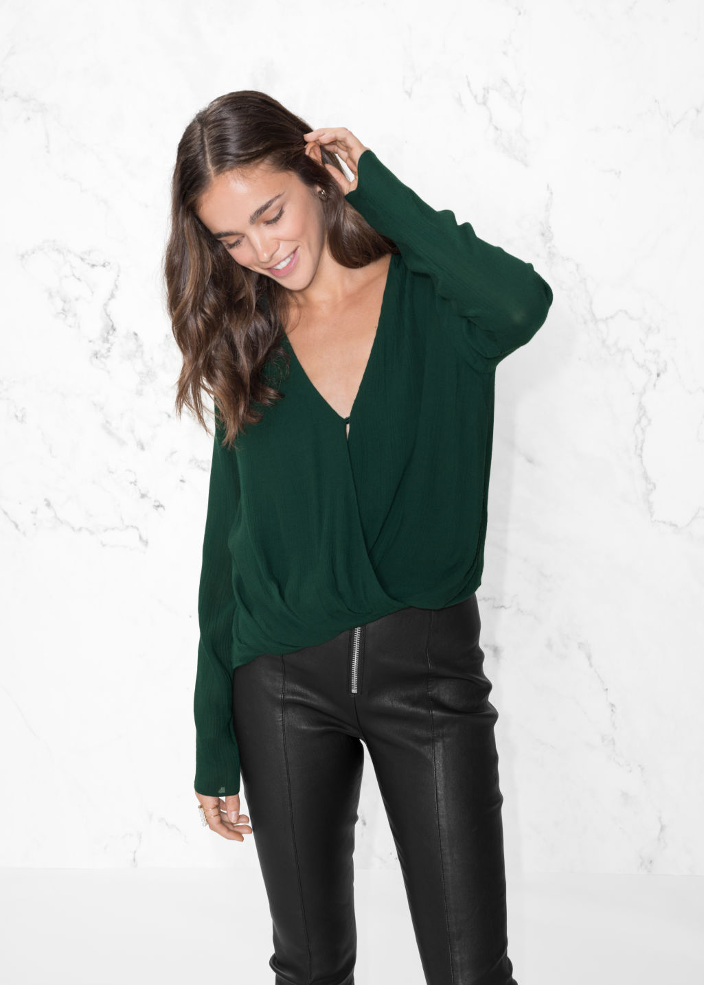 Model front image of Stories wrap-effect blouse in green