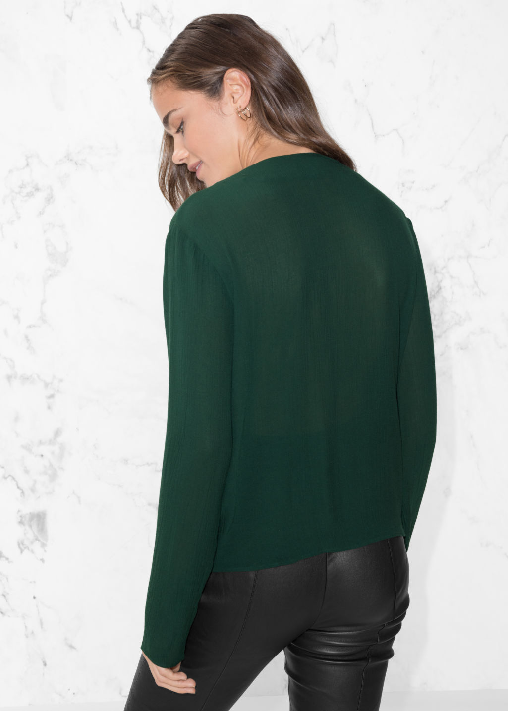 Model back image of Stories wrap-effect blouse in green