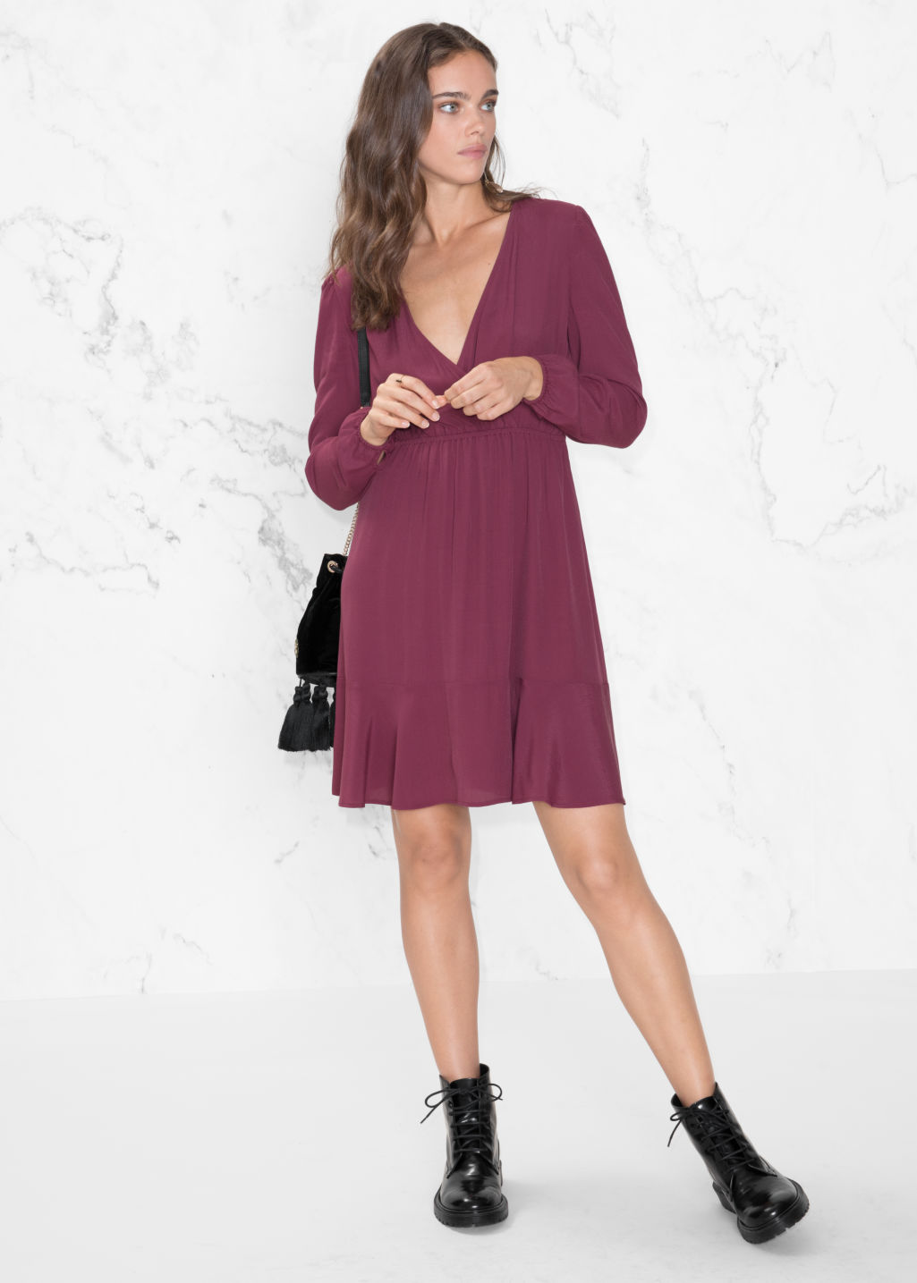 Model front image of Stories wrap neck dress in red