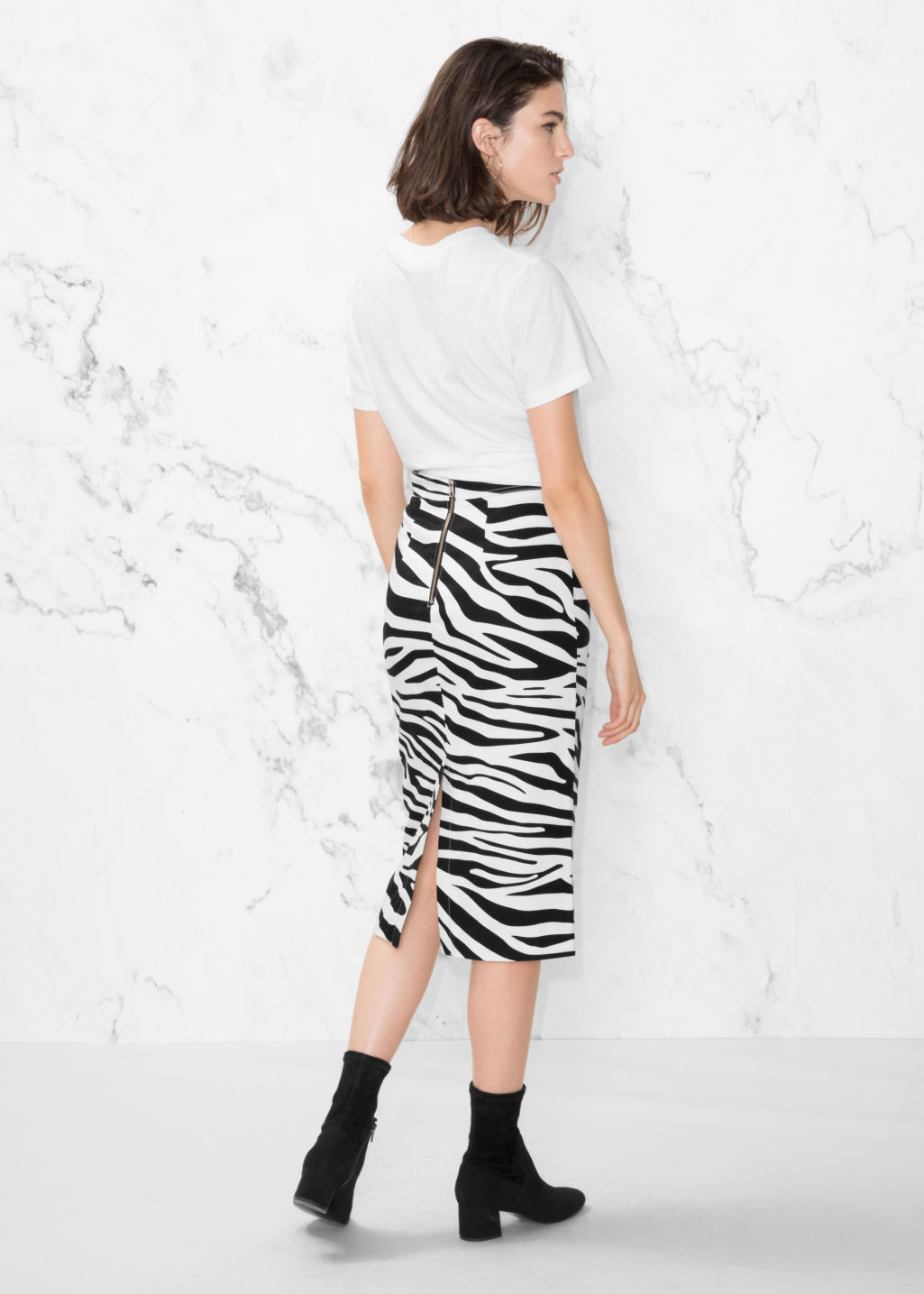 Model front image of Stories zebra pencil skirt in white