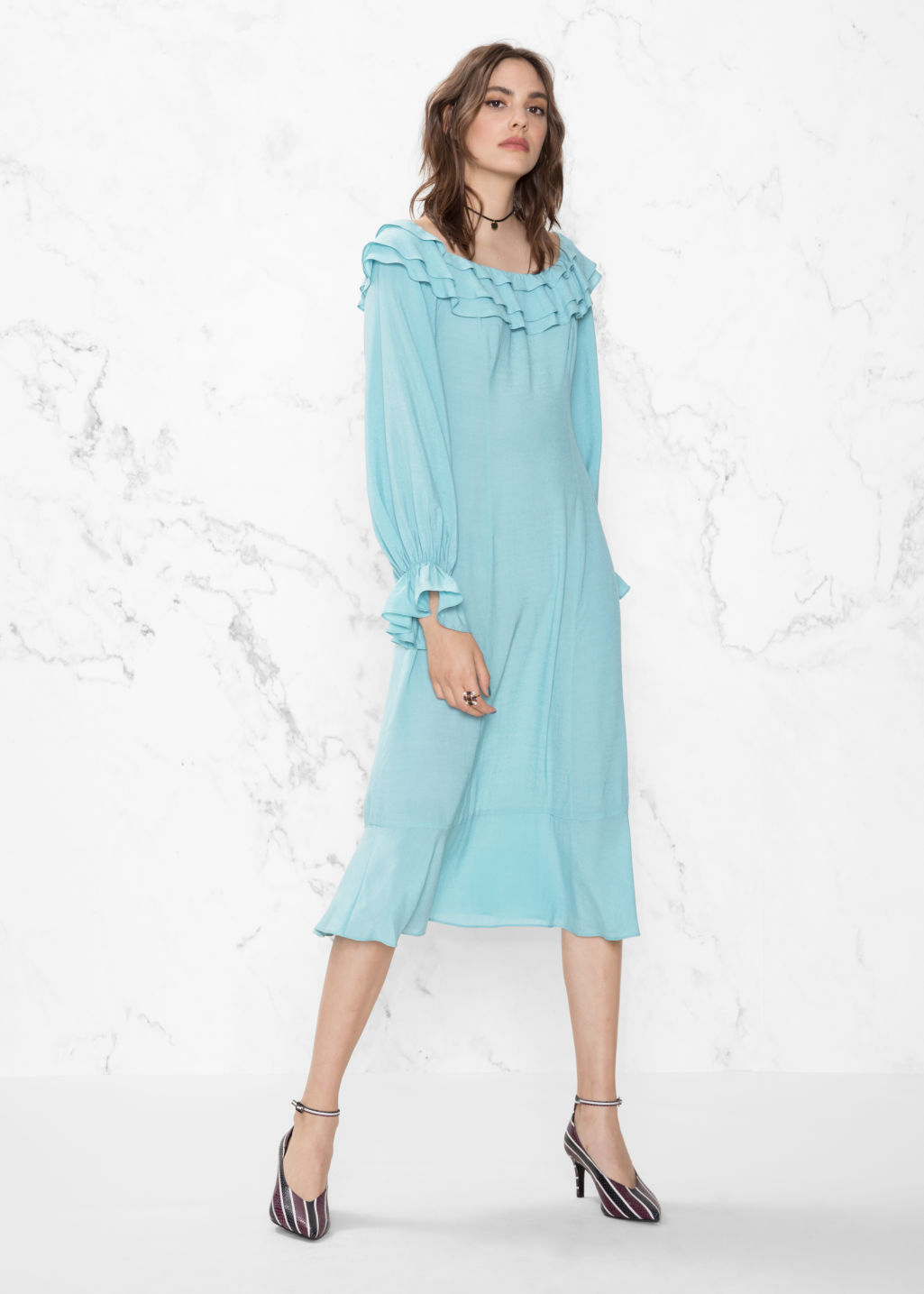Model front image of Stories layered frill dress in turquoise