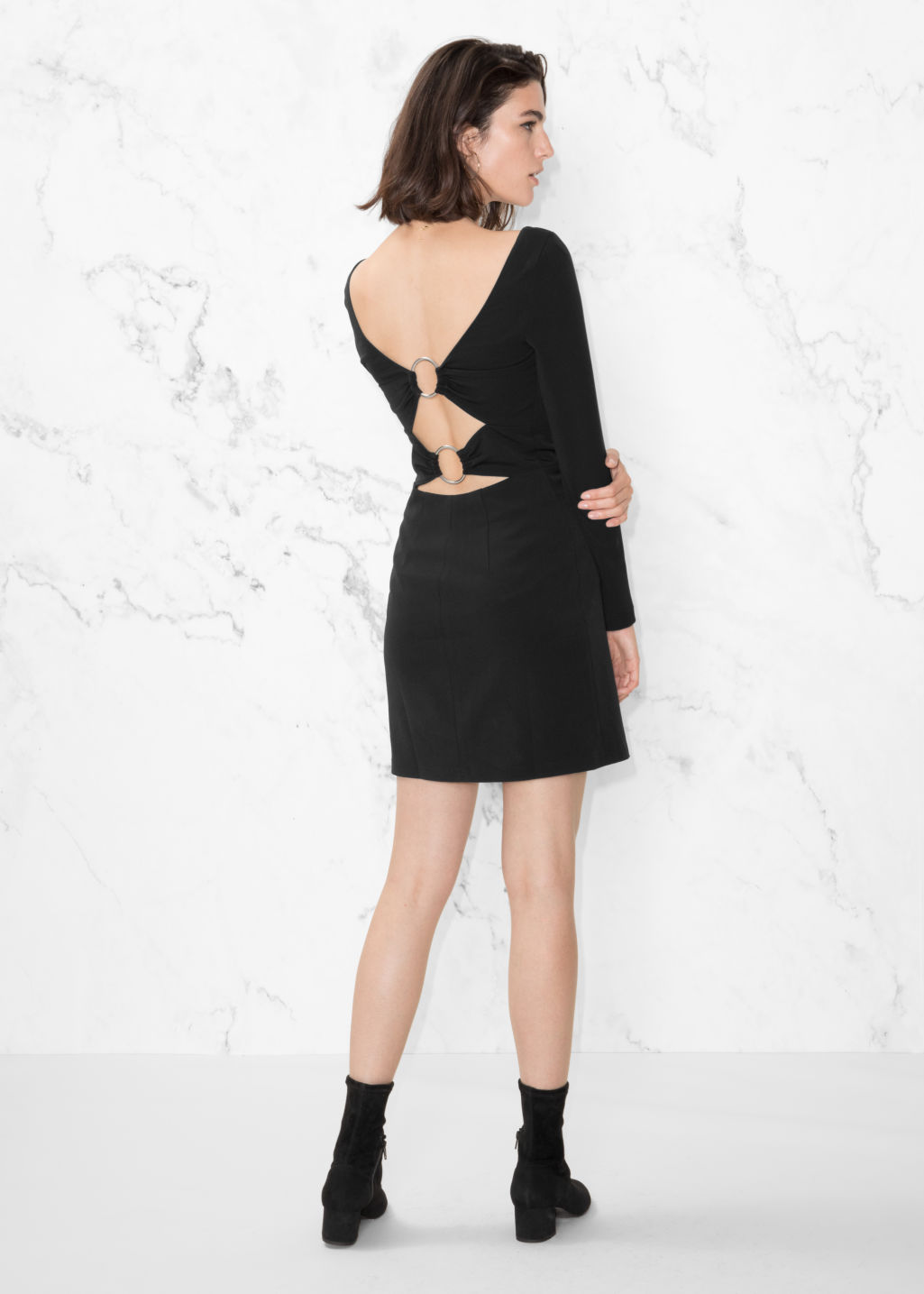 Model front image of Stories bodycon dress in black