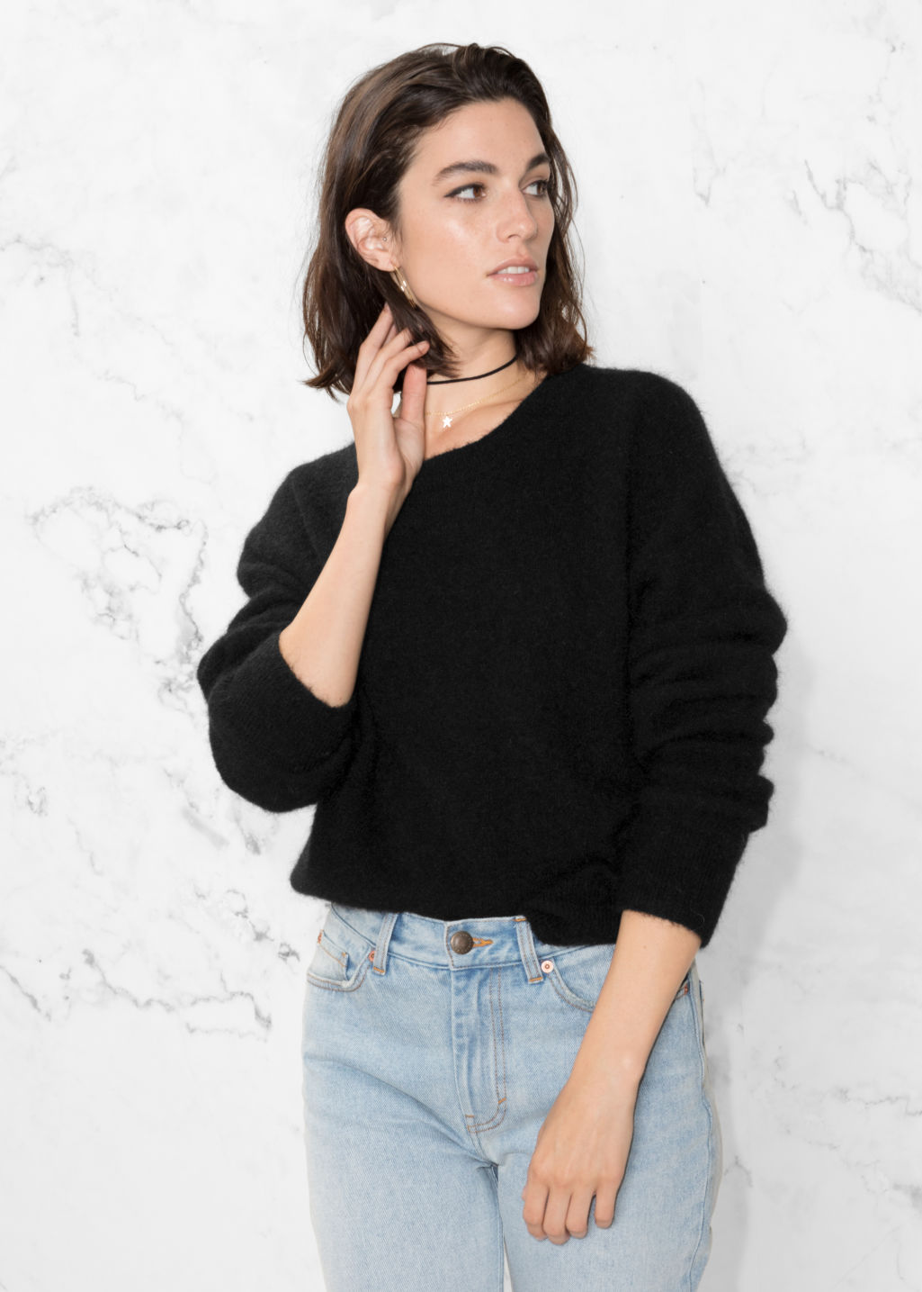 Model front image of Stories mohair & wool sweater in black