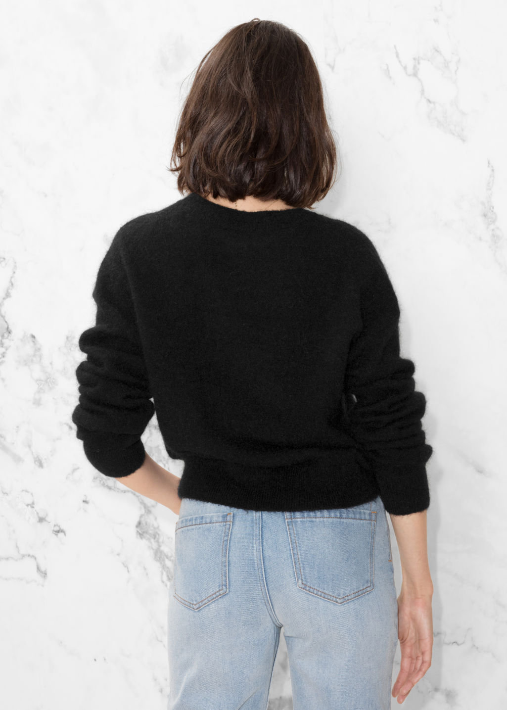 Model back image of Stories mohair & wool sweater in black