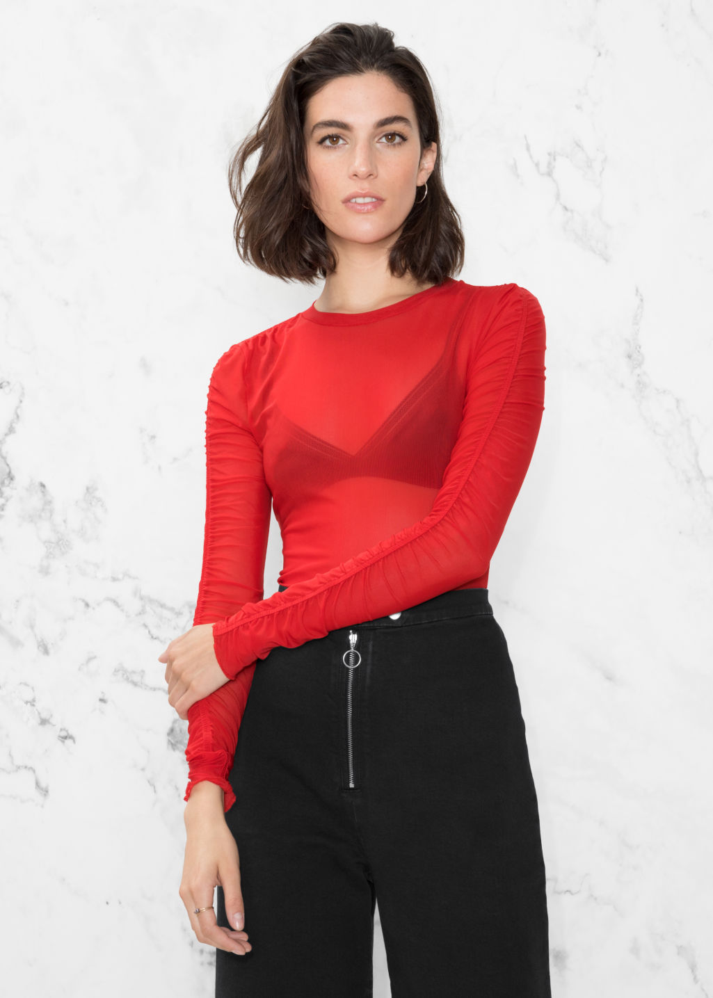 Model front image of Stories gathered sleeve top in red