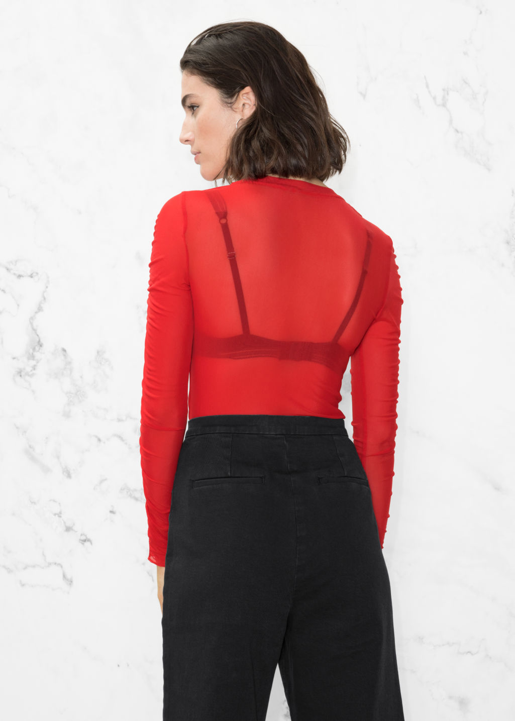 Model back image of Stories gathered sleeve top in red
