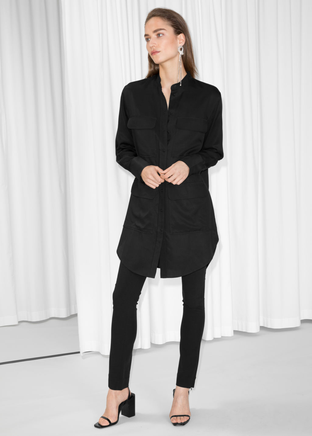 Model front image of Stories patch pocket shirt dress in black