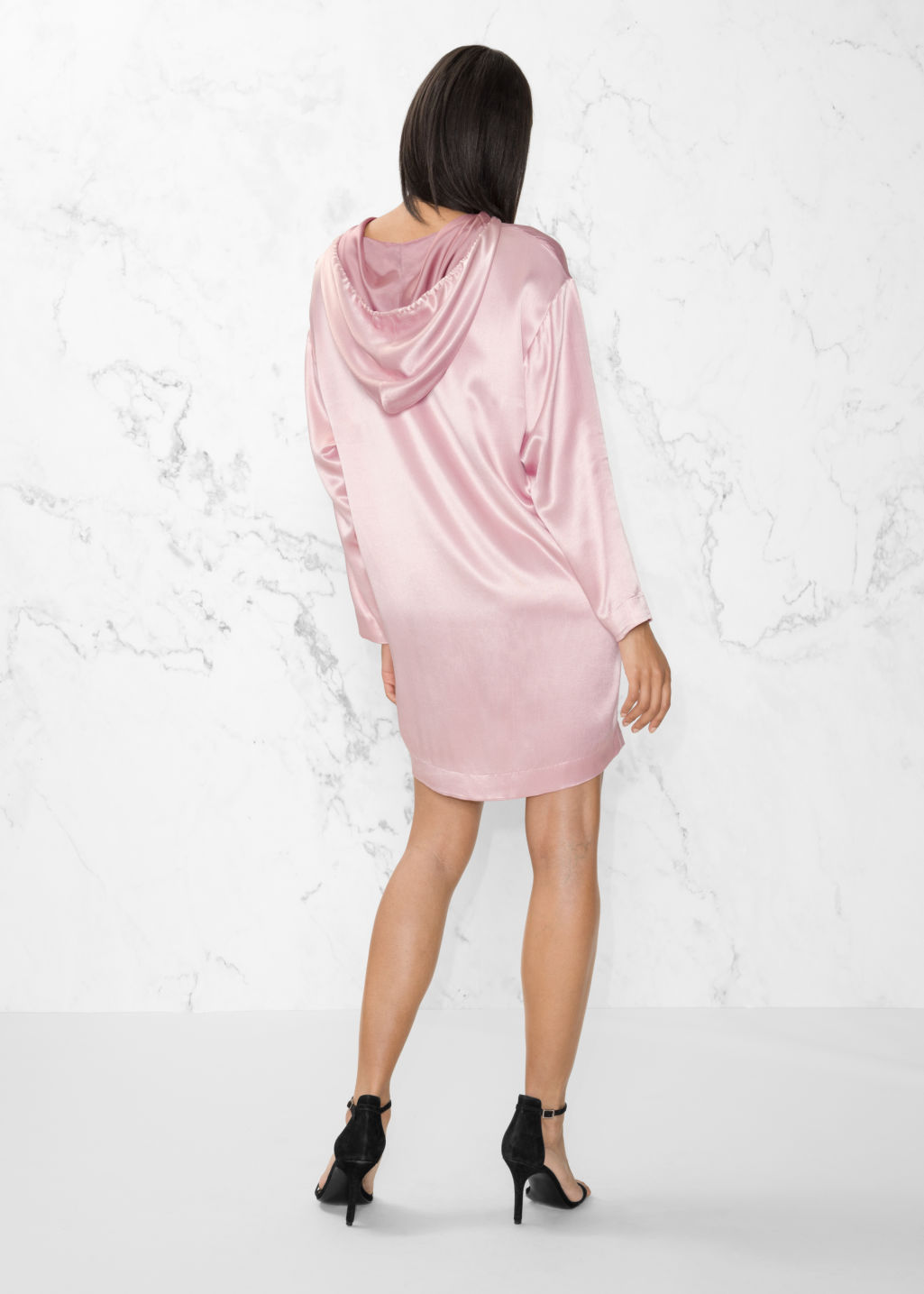 Model back image of Stories hoodie dress in pink