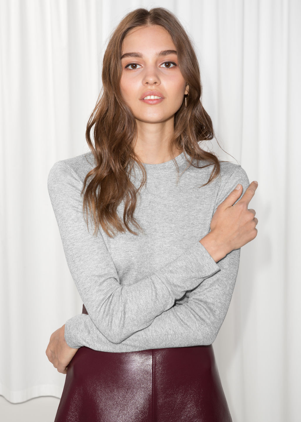 Model front image of Stories lurex top in grey