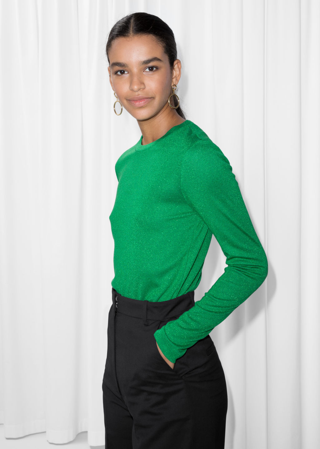 Model front image of Stories lurex top in green