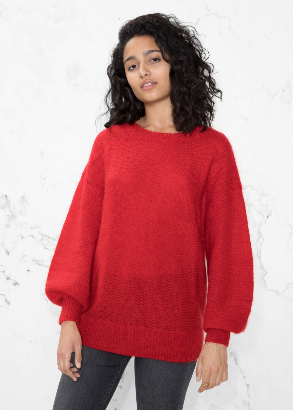 Model front image of Stories wool blend sweater in red
