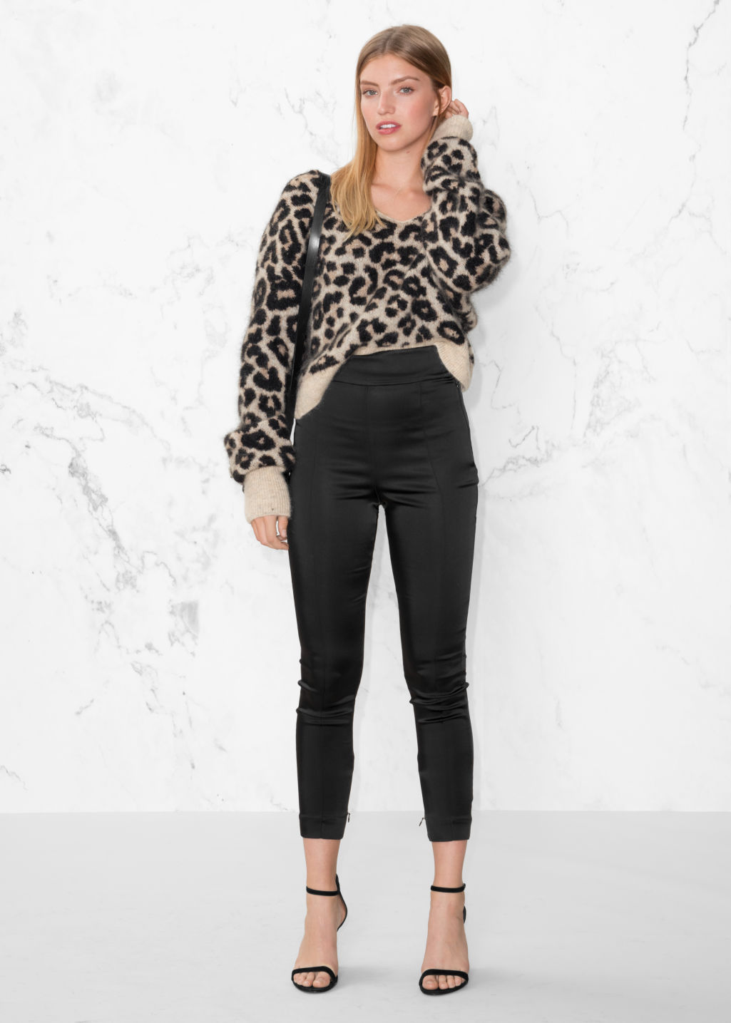 Model front image of Stories high-rise trousers in black