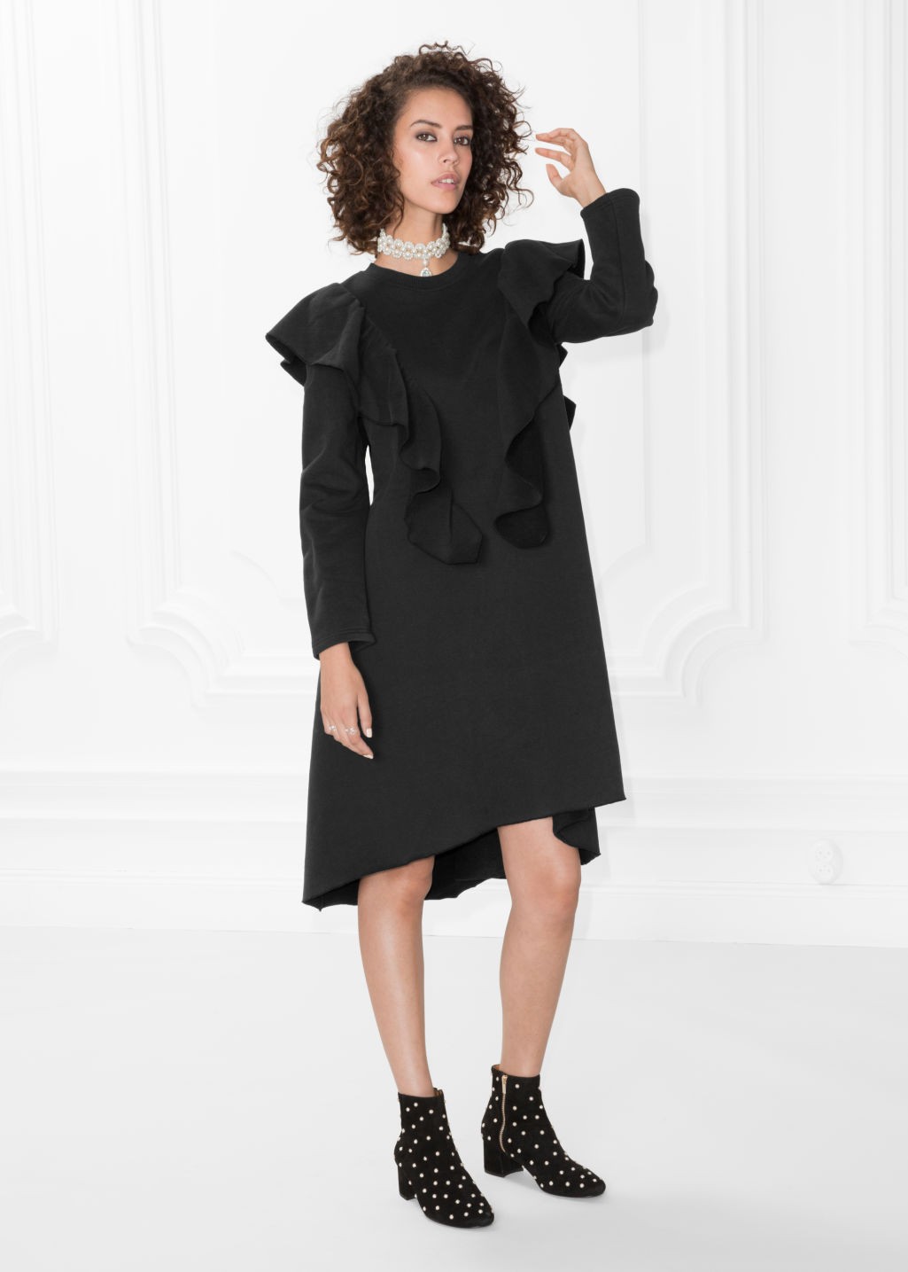 Model front image of Stories oversized frill dress in black