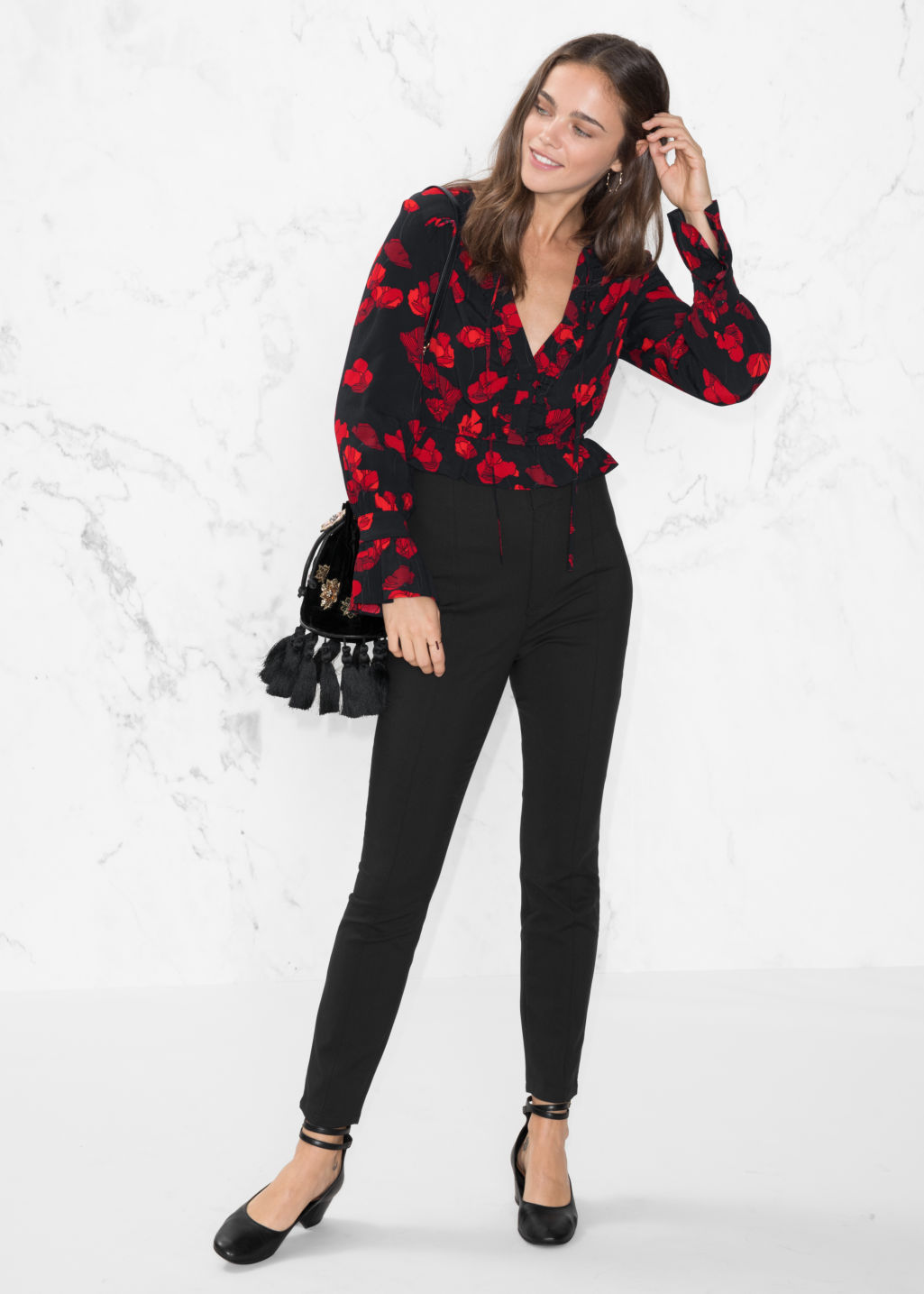 Model front image of Stories crease trousers in black
