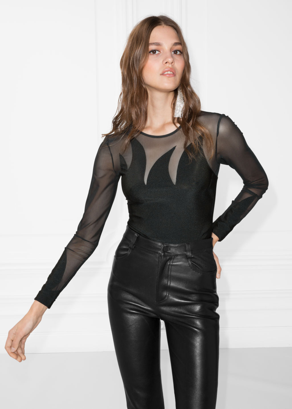 Model front image of Stories mesh body in black