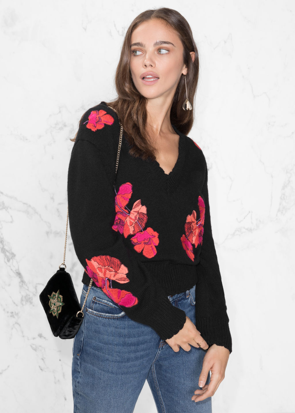 Model front image of Stories knit embroidery sweater in black
