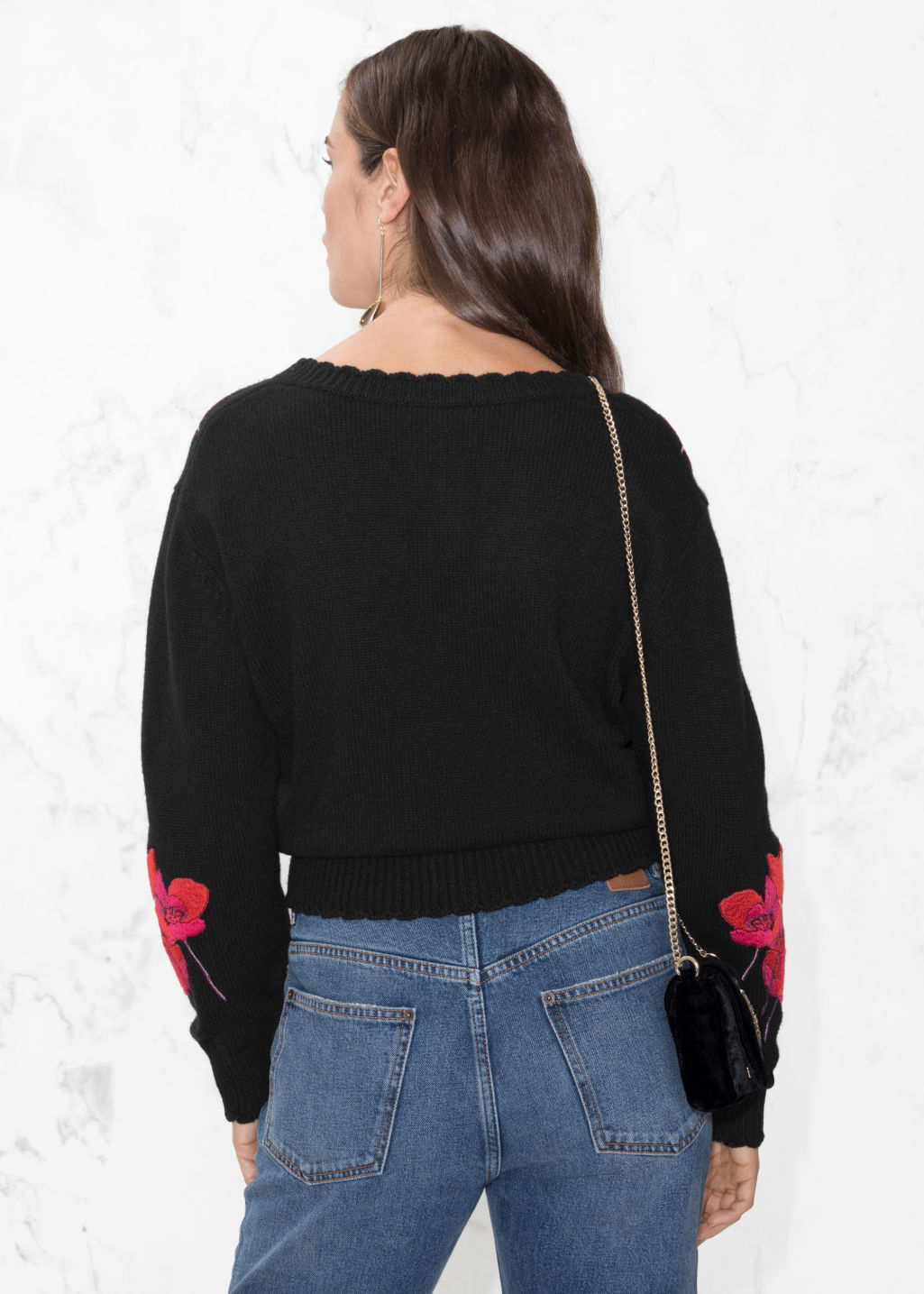 Model back image of Stories knit embroidery sweater in black