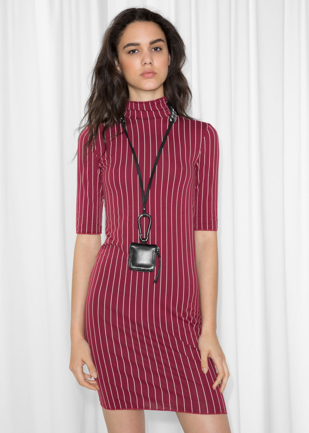 Model front image of Stories pinstripe dress in red