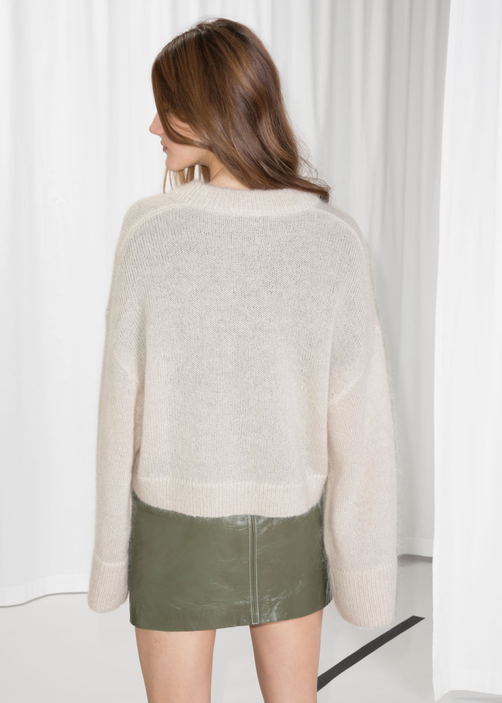 Model back image of Stories mohair jumper in beige