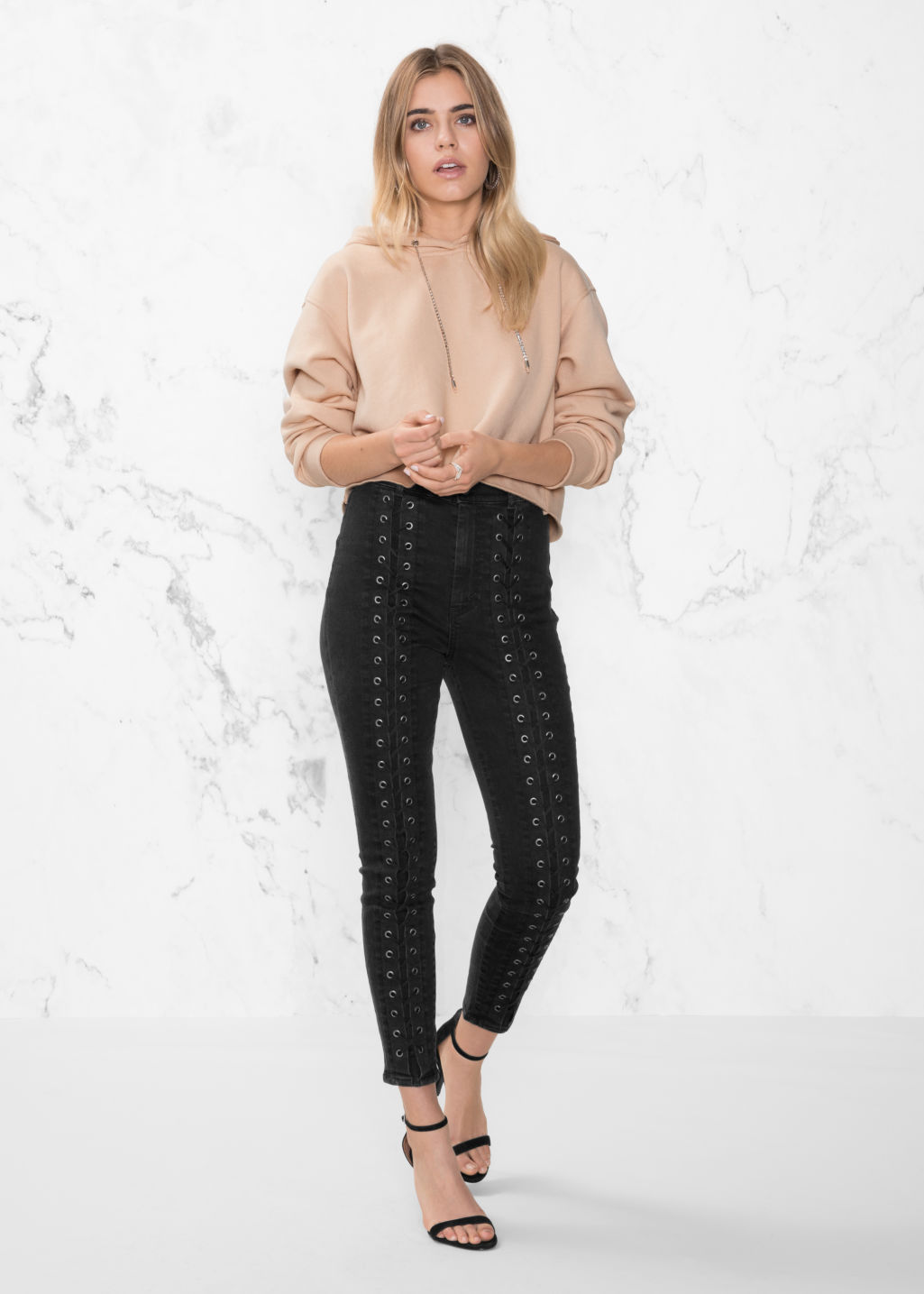 Model front image of Stories lace-up denim jeans in black