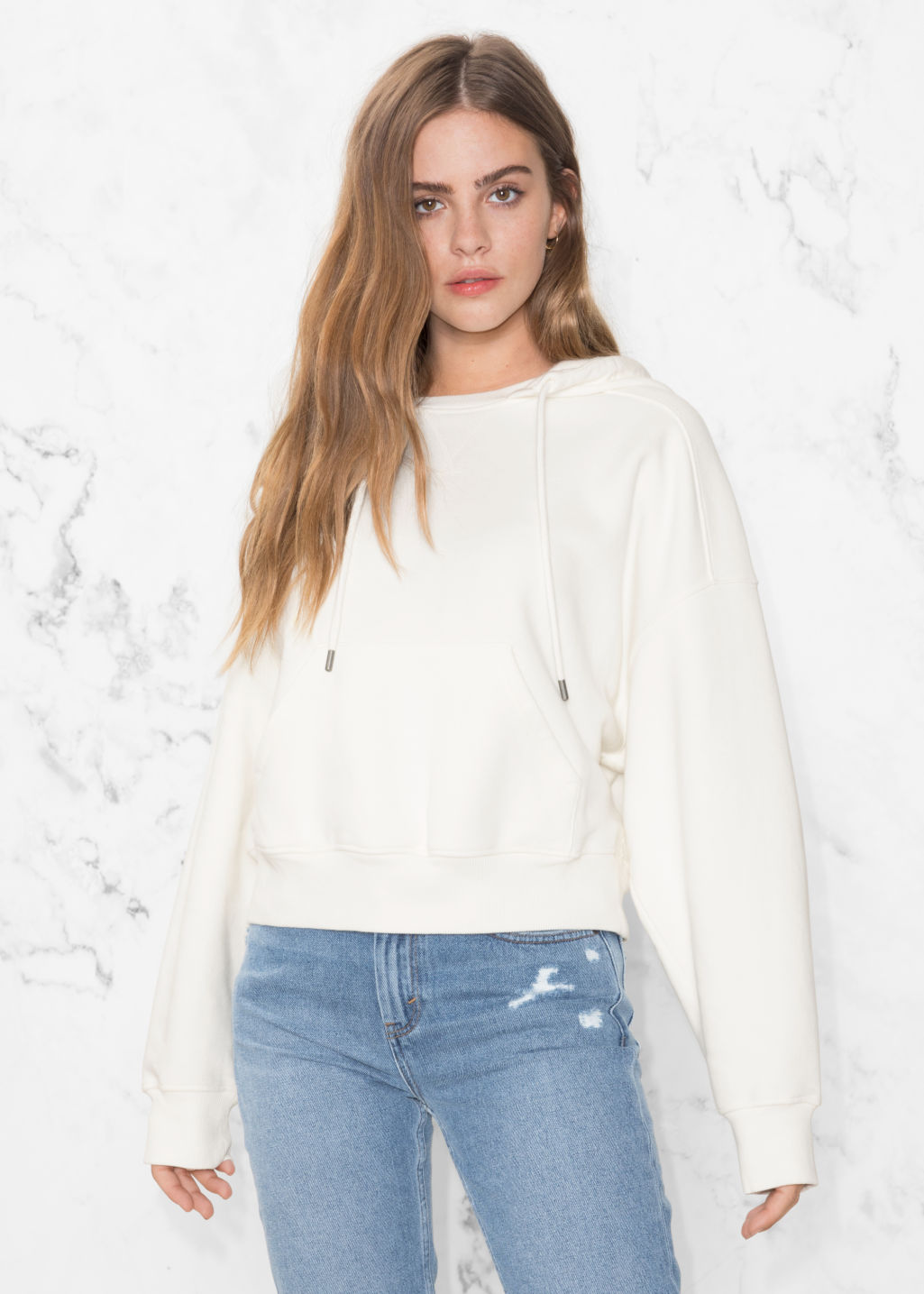 Model front image of Stories patch pocket hoodie in white