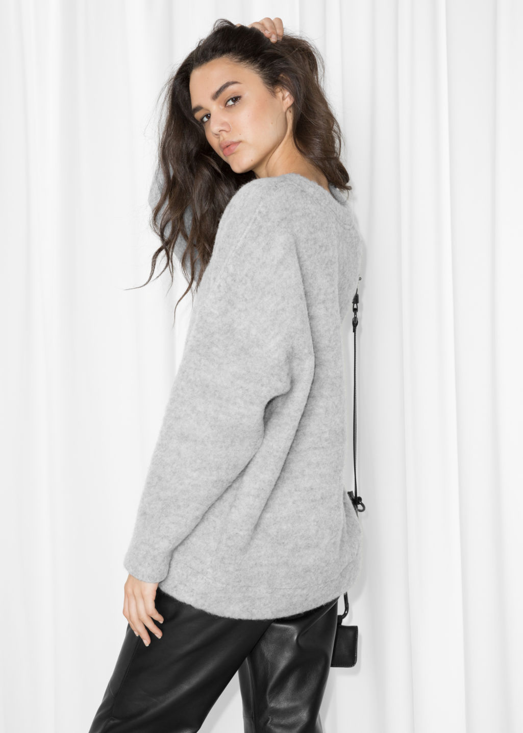 Model back image of Stories oversized wool sweater in grey