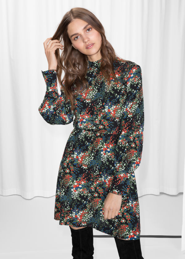 Dark Blooms Print Dress